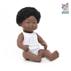 Baby Doll African Boy with Down Syndrome 38 cm