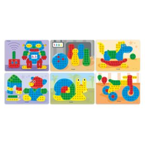 Pegs 15 mm: 6 Patterns Pack (Toys) Primary Colors
