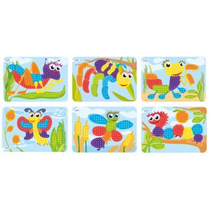Pegs 10 mm: 6 Patterns Pack (Bugs) Bright Colors