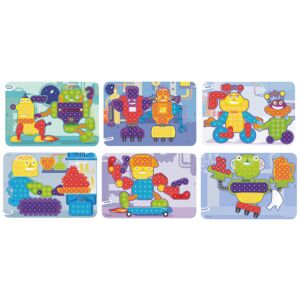 Pegs 15 mm: 6 Patterns Pack (Robots) Bright Colors
