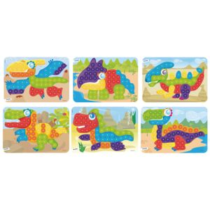 Pegs 20 mm: 6 Patterns Pack (Dinos) Bright Colors