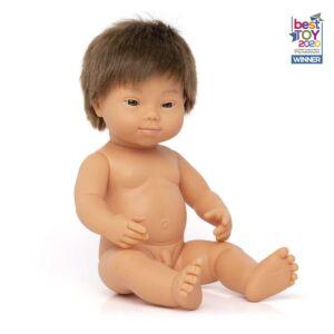 Muñeco bebé caucásico con síndrome de Down 38 cm
