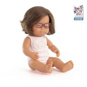 Muñeca bebé caucásica Sindrome Down con gafas 38cm