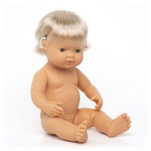 Muñeca bebé caucásica con implante coclear 38 cm
