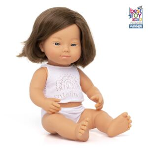 Muñeca bebé caucásica con síndrome de Down 38 cm