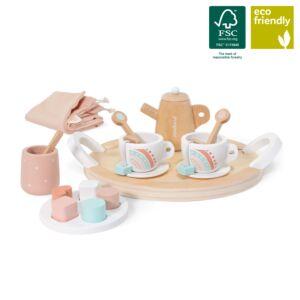 Set de té de madera para muñecos
