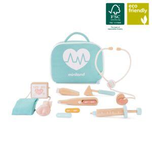 Set de médico de madera para muñecos