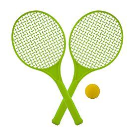 Juego de raquetas en color con pelota