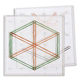 Set de 6 geoplanos (15 cm en transparente)