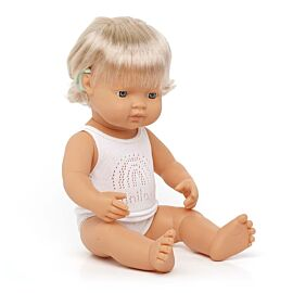 Baby Doll Caucasian Girl with Hearing Aid 15''