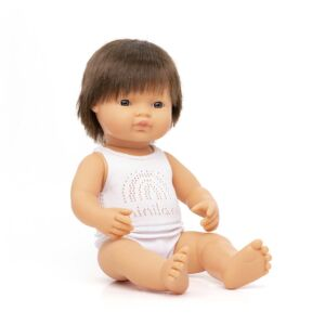 Baby doll brown hair boy 38 cm