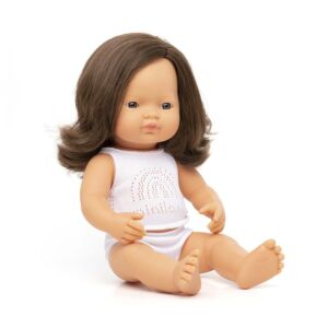 Baby doll brown hair girl 38 cm